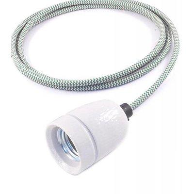 No.1 hanglamp met groen/wit gestreept strijkijzersnoer