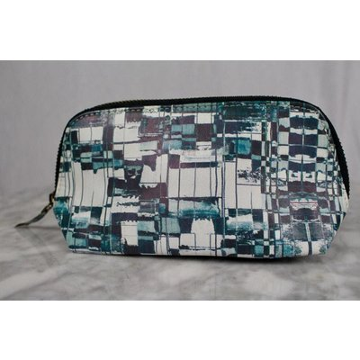 Graphic make-up tas blauw