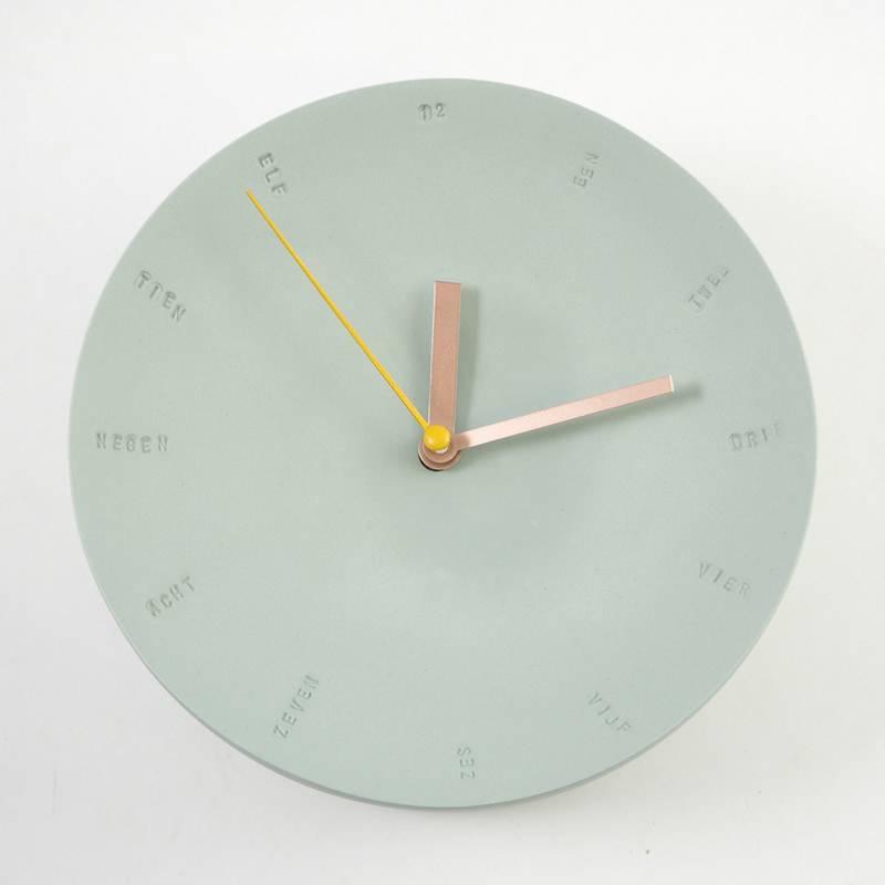 Studio Harm en Elke Wandklok porselein groot groen - geel
