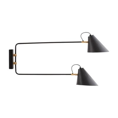 Wandlamp Club 2-lichts Zwart Wit