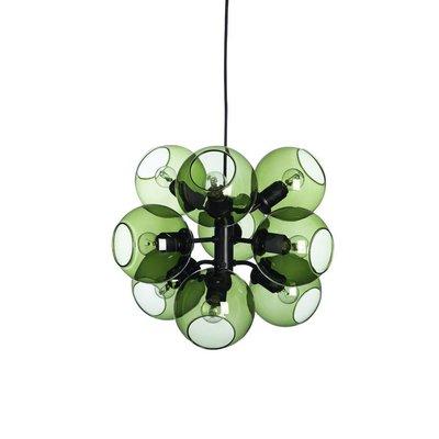 Tage Hanglamp Zwart/groen 9 lights