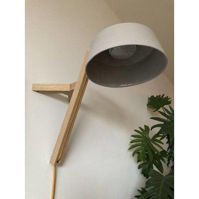 Studio Harm en Elke Wandlamp eikenhout porselein grijs okergeel snoer
