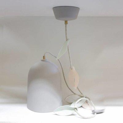 Hanglamp blad grijs – linnen snoer