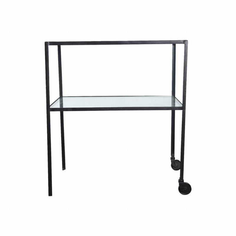 House Doctor Trolley zwart metaal glas 50 x 70 x 80 cm