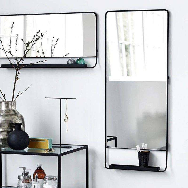 House Doctor Spiegel met planchet zwart metaal 45 x 110 cm