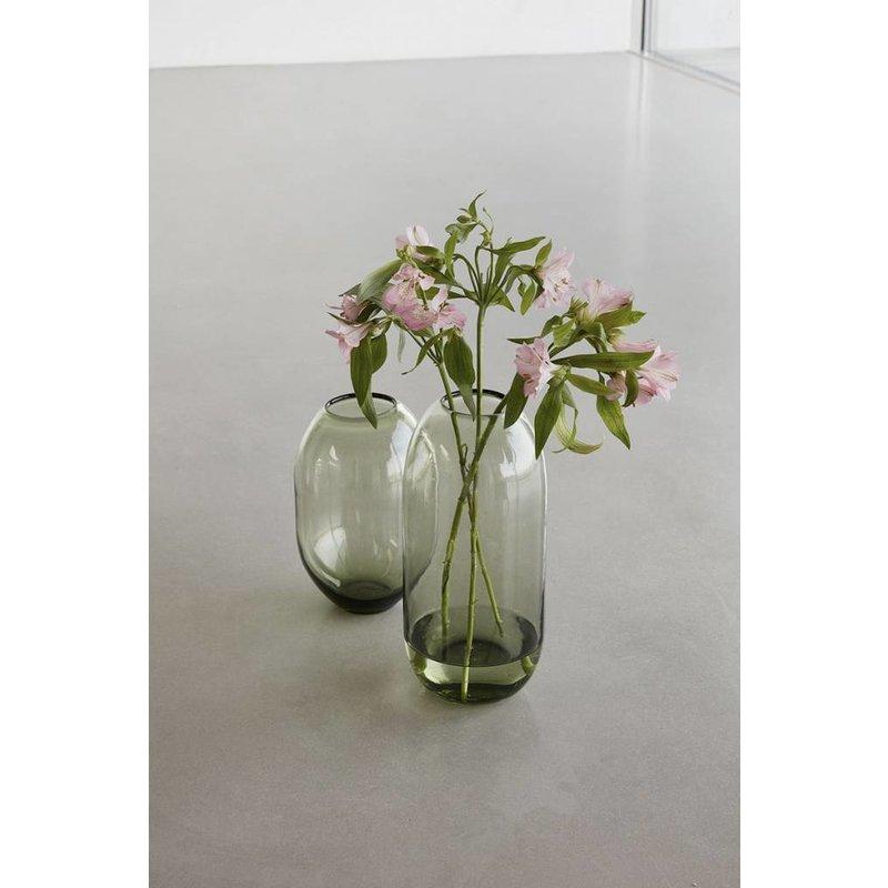 Hübsch Set van 2 vazen groen glas