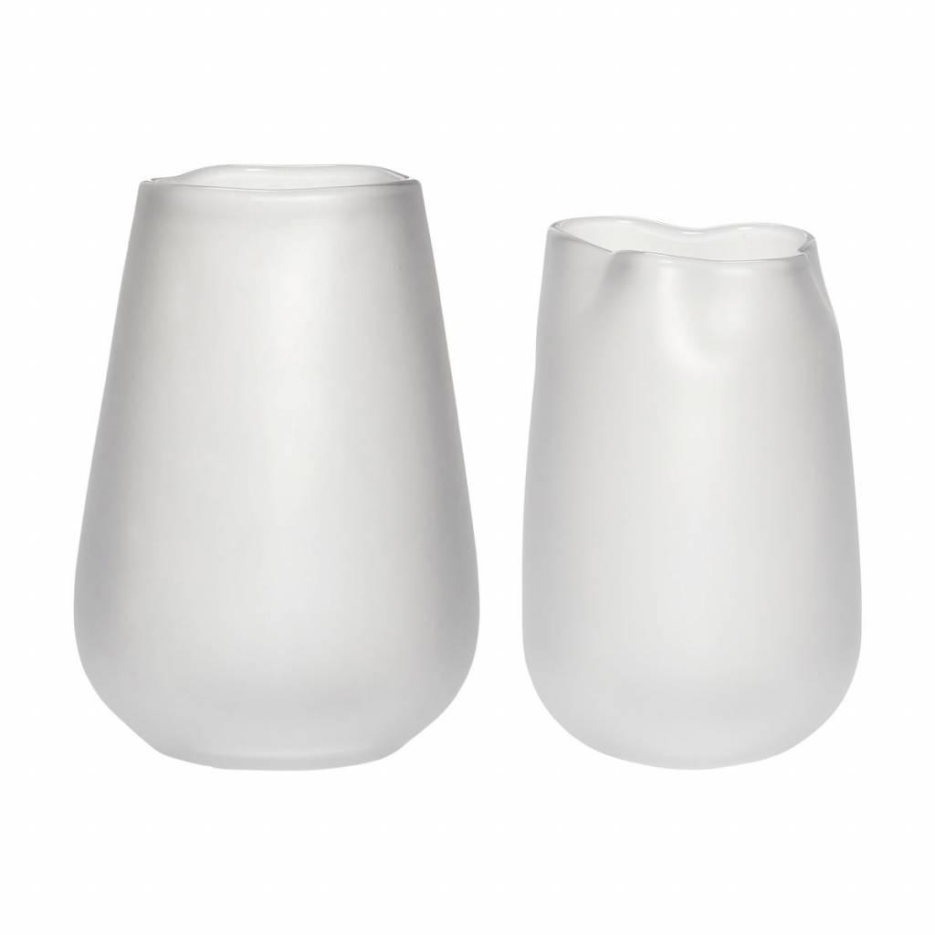 H�bsch Set vazen gerookt glas wit