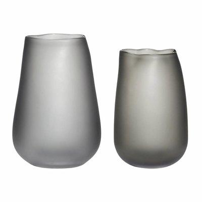 Hübsch Set vazen gerookt glas grijs