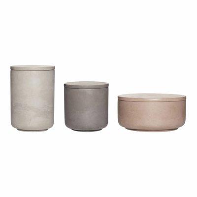 Hübsch Set opbergpotjes beton bruin grijs donkergrijs
