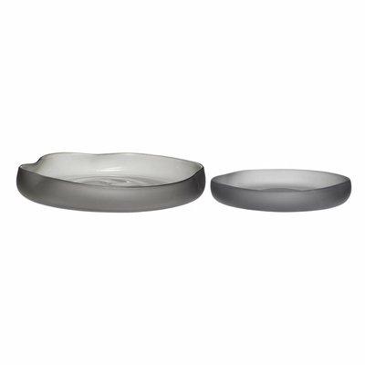 Hübsch Set schalen grijs gerookt glas