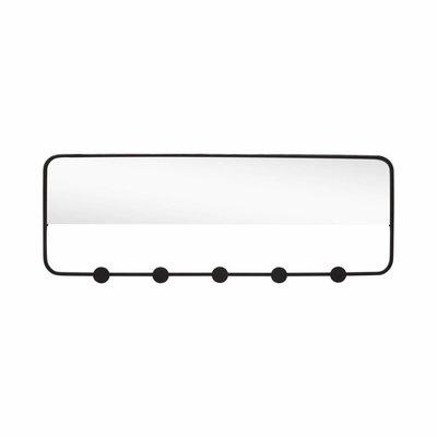 Hübsch Kapstok met spiegel zwart metaal 5 haken 61 x 22 cm