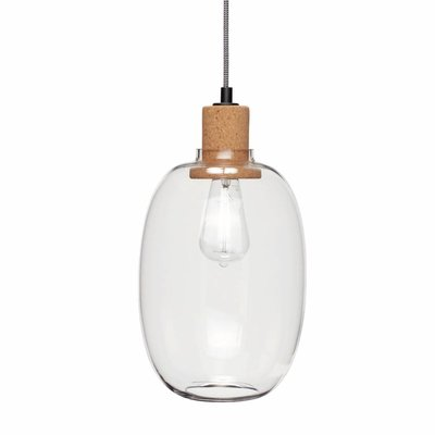 Hübsch Hanglamp glas kurk 21 x 37 cm