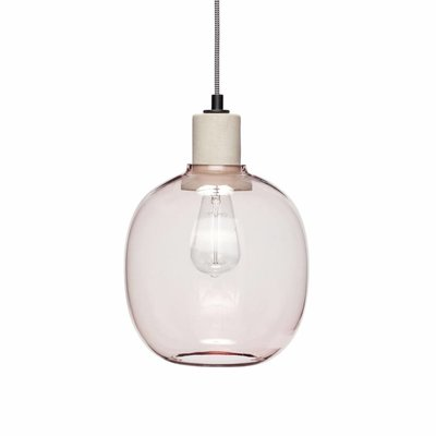 Hübsch Hanglamp glas roze beton  23 x 30 cm