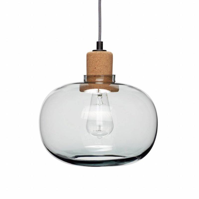 Hübsch Hanglamp glas kurk blauw 28 x 26 cm