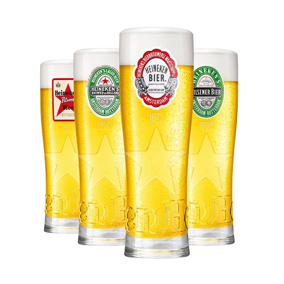 Quattro unici bicchieri retro Heineken con stella