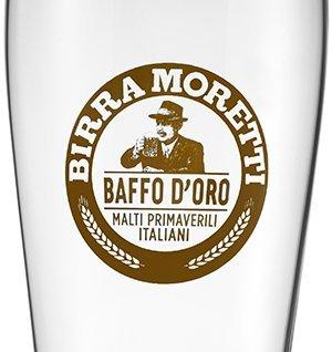 LOT DE 2 VERRES BIRRA MORETTI BAFFO D'ORO 25 CL