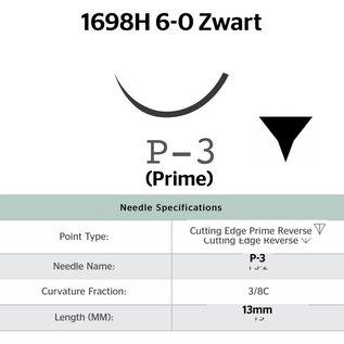 1698H Ethilon® 6-0 Zwart, met P-3 (13mm) naald