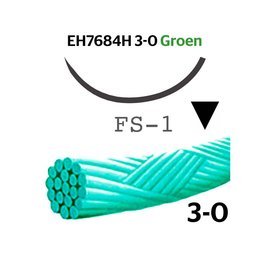 EH7684H Mersilene® 3-0 Groen met FS-1 (24mm) naald