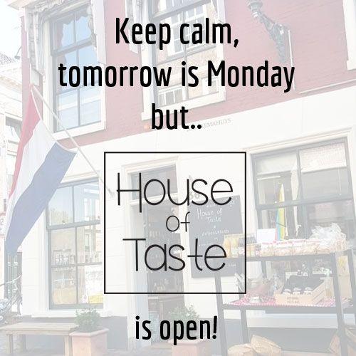 Nu ook op maandag geopend.