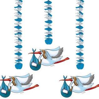 Blauwe ooievaar hangdecoratie baby shower geboorte jongen for Hangdecoratie raam