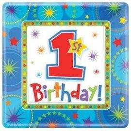 Blauwe 1st Birthday Kartonnen Gebaksbordjes