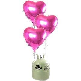 Heliumfles met 20x Roze Hartjes Folieballonnen