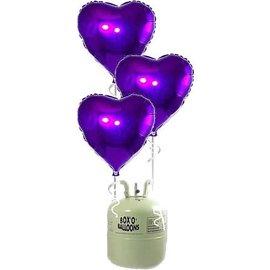 Heliumfles met 20x Paarse Hartjes Folieballonnen