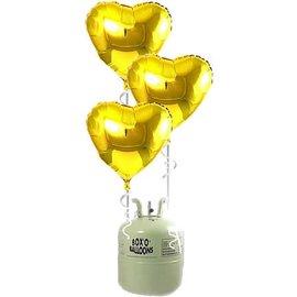 Heliumfles met 20x Gouden Hartjes Folieballonnen