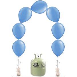 Heliumfles met 25x Blauwe Knoopballonnen Ballonboog