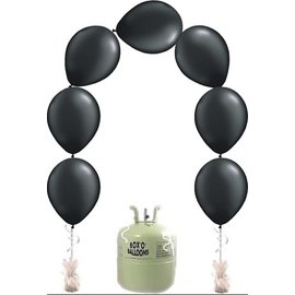 Heliumfles met 25x Zwart Knoopballonnen Ballonboog