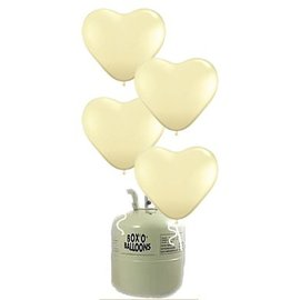 Heliumfles 20x Latex Ivoor Creme Hartjes
