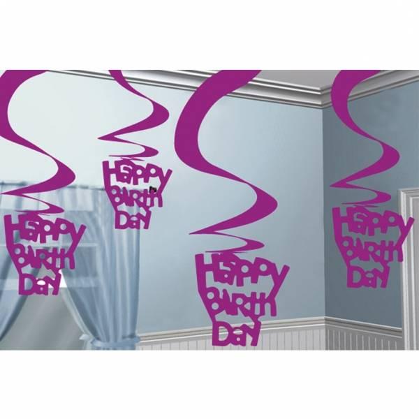 Roze glimmende happy birthday swirl decoratie feestperpost for Leuke versiering