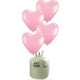 Helium Tank 20x Roze Latex Hartjes