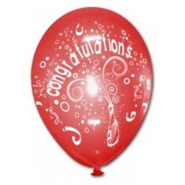 10x Rode Congratulations Helium Ballonnen