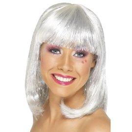 Witte Glitter Party Pruik