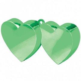 12x Groene Dubbele Hartjes Ballongewichten