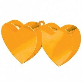 12x Oranje Dubbele Hartjes Ballongewichten