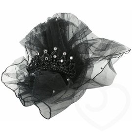 Zwarte Mini Tiara met Sluier