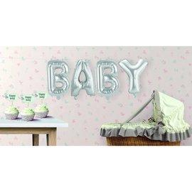 Zilveren BABY Supershape Folieballonnen