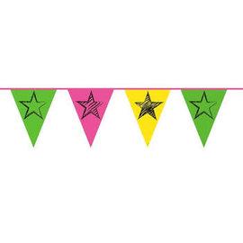 Neon Party Vlaggenlijn met Sterren Print