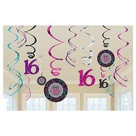 Sweet 16 Swirls Versiering 12 stuks
