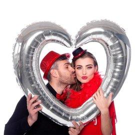 Zilveren Fotolijst Hart Folieballon