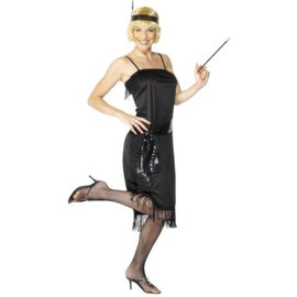 Zwarte 1920's Flapper Dress Kostuum