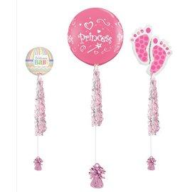 Roze Witte Slinger voor aan Ballon