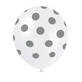 6x Witte Latex ballonnen met Zilveren stippen