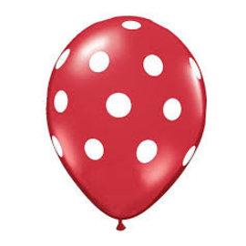 6x Rode Latex Ballonnen met Witte Stippen