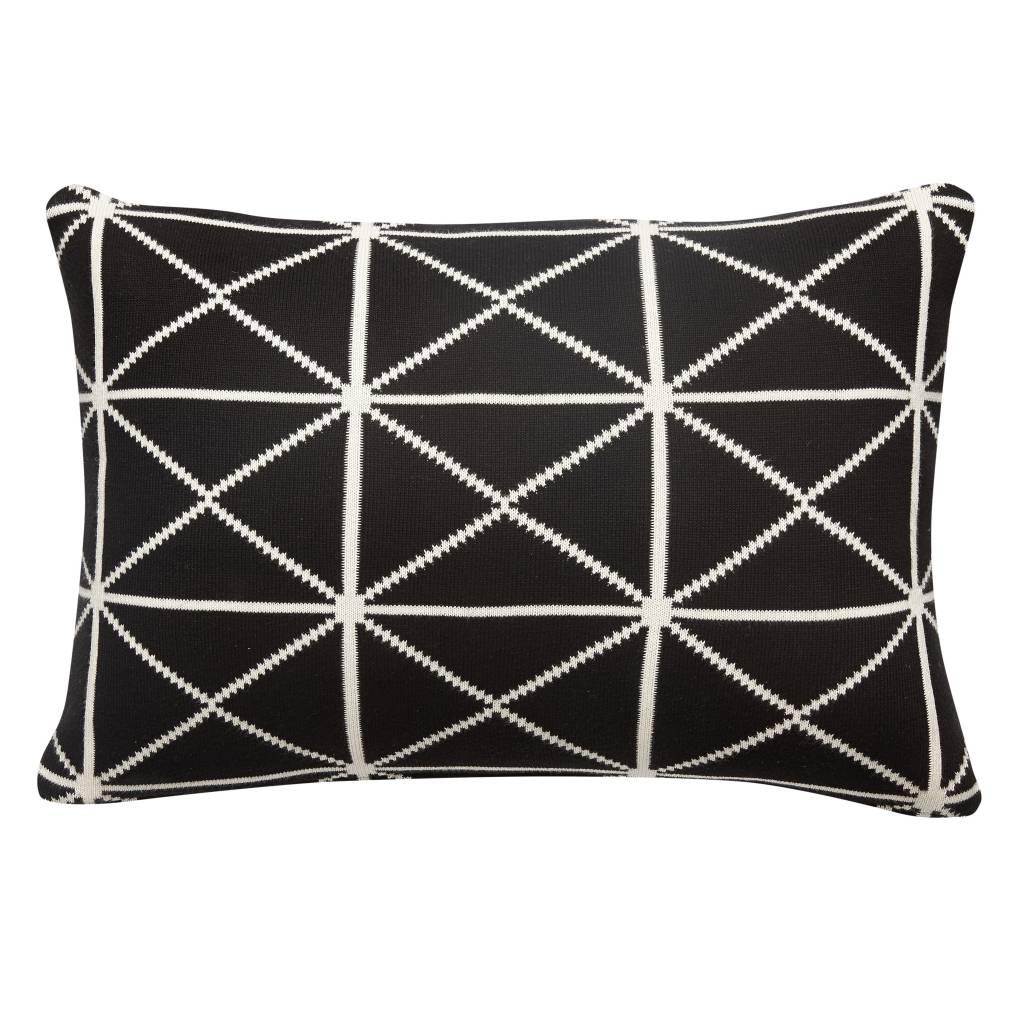 Hubsch Hübsch kussen zwart/wit grafisch (20 x 60 cm)