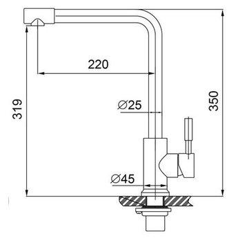 304-Blake RVS Keukenkraan hooggebogen uitloop