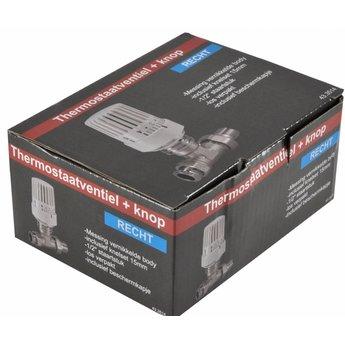 Riko Riko thermostatische radiatorkraan + knop inc. adapter 15mm 1/2 recht