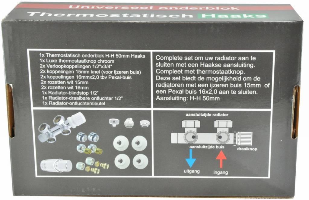 Riko Riko chroom onderblok set compleet, haakse uitvoering (knop links)